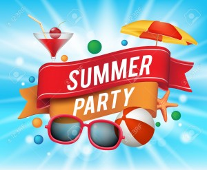 40169022-Summer-Party-Poster-with-Colorful-Elements-and-a-Text-in-a-Ribbon-with-Blue-Background-Vector-Illust-Stock-Vector